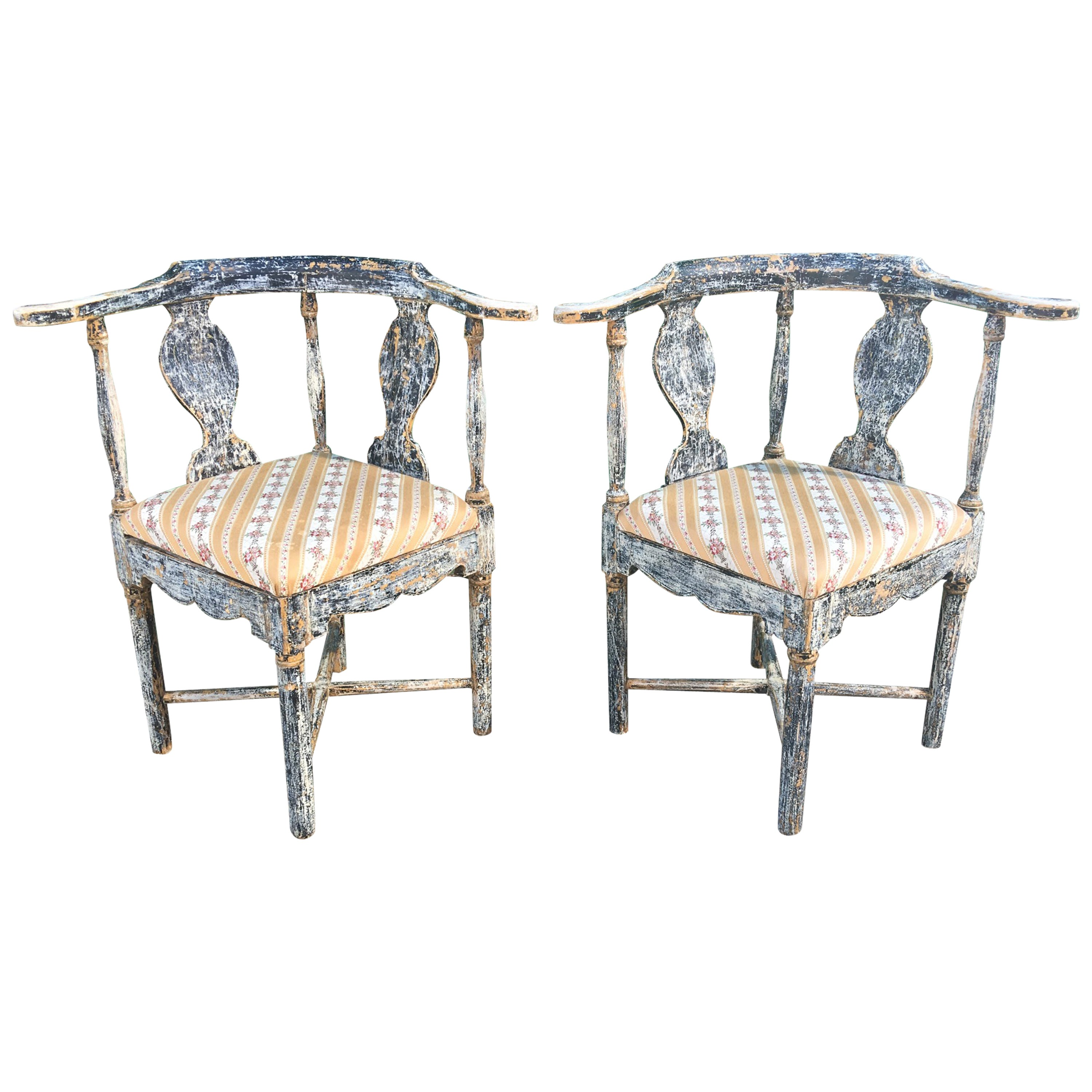 Pair of Swedish Gustavian Corner Armchairs