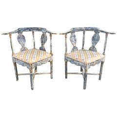 Pair of Swedish Gustavian Corner Armchairs
