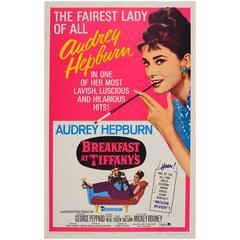 "Original 1965 Re-Release Movie Poster ""Audrey Hepburn in Breakfast at Tiffany's"""
