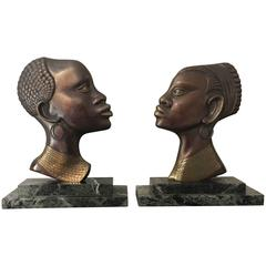 Bookends in the Style of Hagenauer Bust of an African Woman and Man
