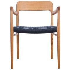 Mid-Century Modern Danish Armchair Model 56 in Oak and Papercord by Niels Møller