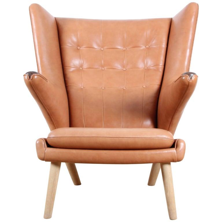"Mid-Century Modern Danish Lounge Chair ""Papa Bear"" by Hans Wegner For Sale"