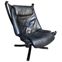 High Back Black Leather Falcon Chair Designed by Sigurd Resell