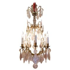 French Late 18th Century Bronze and Hand-Cut Crystal Chandelier, circa 1800