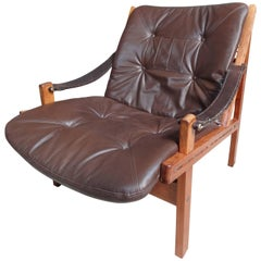 1960 vintage Torbjorn Afdal Brown Leather Sling Armchair by Bruksbo, Norway