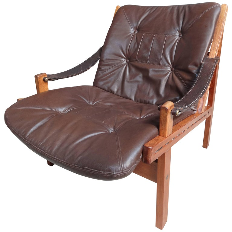 1960 vintage Torbjorn Afdal Brown Leather Sling Armchair by Bruksbo, Norway For Sale