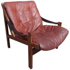 1960 Torbjørn Afdal Brown Leather Sling Armchair