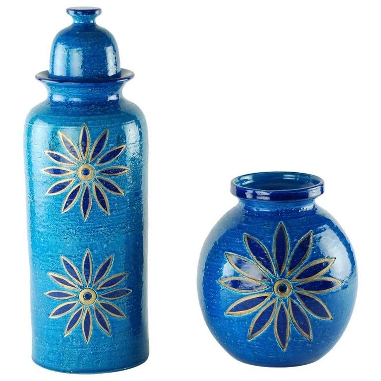 Aldo Londi for Bitossi Rimini Blu Vase and Lidded Jar with Floral Decoration For Sale