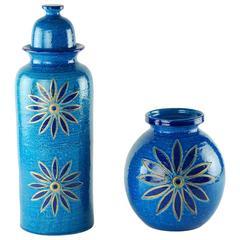 Aldo Londi for Bitossi Rimini Blu Vase and Lidded Jar with Floral Decoration