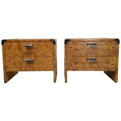 Two Nightstands, Burl and Stainless Steel, USA, 1970s