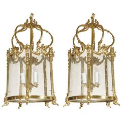 Pair of Vintage Cast and Chased Polished Bronze Louis XV Style Lanterns