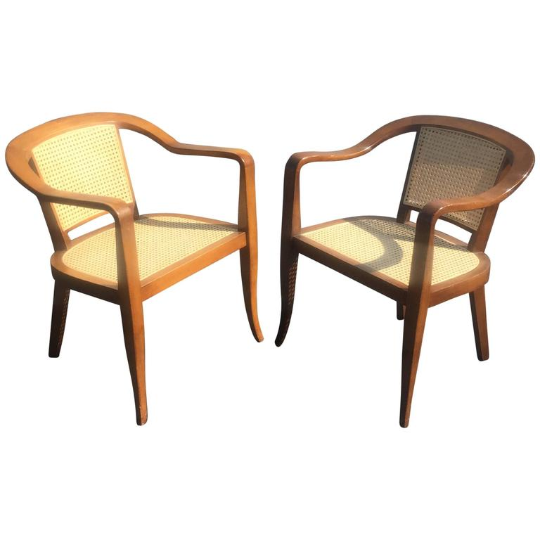 Pair of Mid-Century Cane and Walnut Chairs in the Style of Edward Wormley For Sale