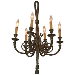 Vintage Bronze Six-Arm Chandelier