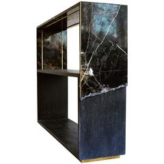 Meta Console Table in Black Marble, Dyed Solid White Oak with Brass Details