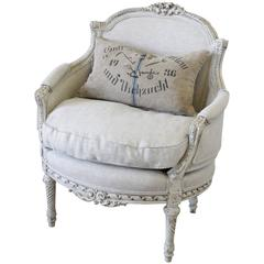 20th Century Antique French Louis XVI Style Chair in Natural Linen