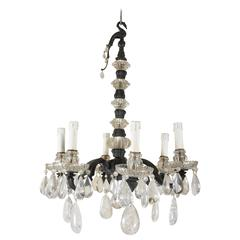 Maison Baguès Bronze, Crystal and Rock Crystal Six-Light Chandelier