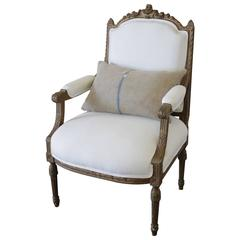 Antique Louis XVI Carved Open Armchair in White Belgian Linen