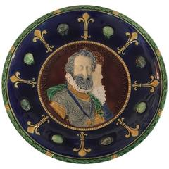 Minton Majolica Double Portrait Charger of Henri IV and Maria de Medici, 1858