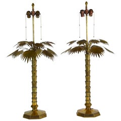 Pair of Mid-Century Modern Brass Palm Tree Lamps