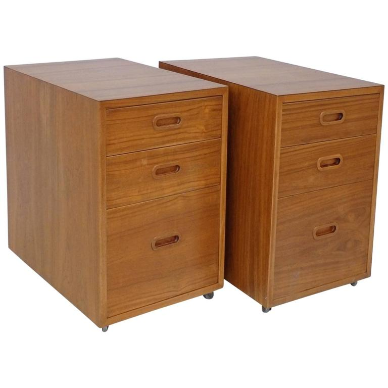 Pair of Nicely Grained Danish Teak Bed Side Cabinets