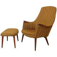 Teak Trimmed Hans Wegner Style Lounge Chair with Ottoman