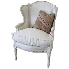 20th Century Painted Louis XVI Wing Chair in Natural Linen