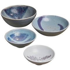 Rolf Palm Set of Four Ceramic Bowls, Mölle, Sweden, 1990s