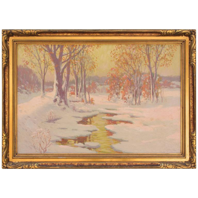 1920s Painting of Snowy of Northern Scene