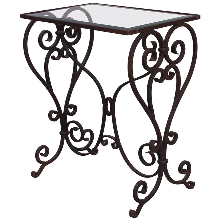 Wrought iron side table with glass top at 1stdibs for Wrought iron and glass side tables