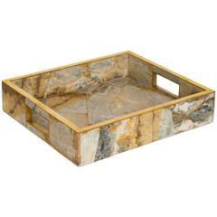 Geometric Onyx Marble Tray with Brass Trim Details