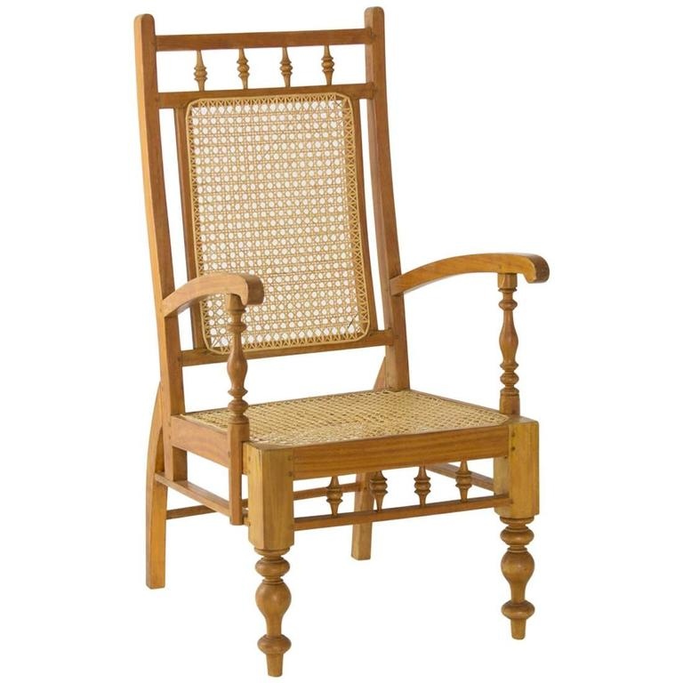 early 20th century colonial sri lankan satinwood garden chair for sale - Garden Chairs