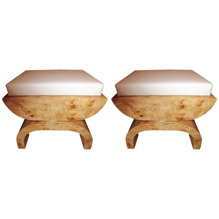 Exceptional Pair of Art Deco Style Stools