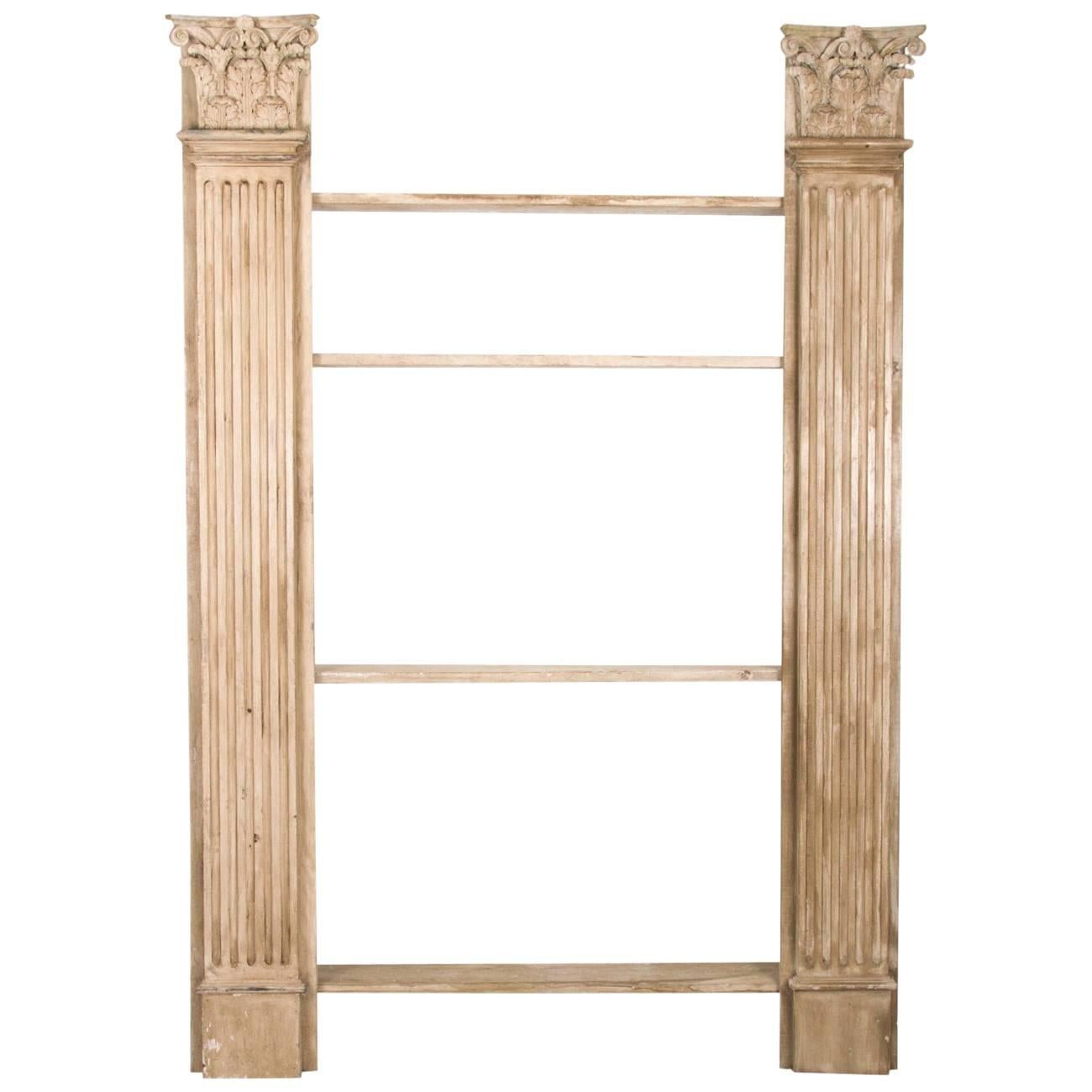 French Painted Bookshelf with Architectural Columns