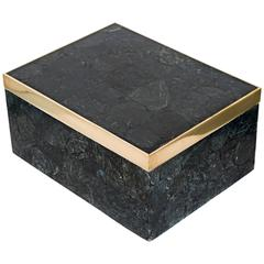 Large Exotic Black Agate Stone Box with Brass Detail
