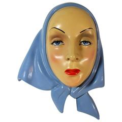 Italian Art Deco Pottery Mask Attributed to Elena, Helen Konig Scavini