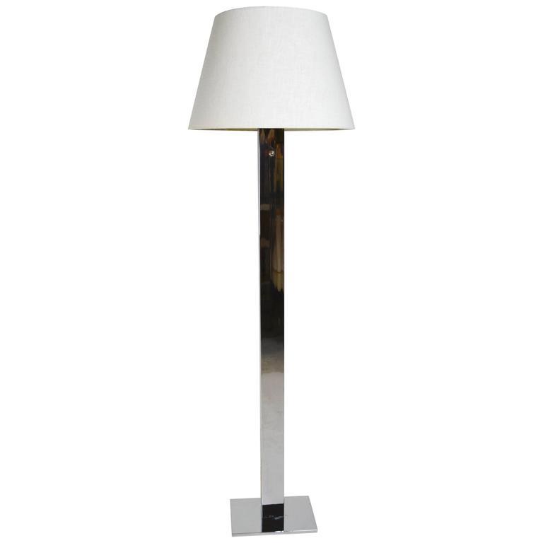1970s Modern Stainless Steel Slab Floor Lamp