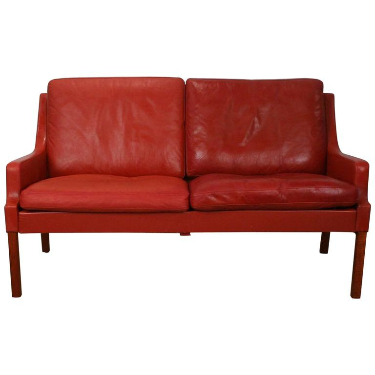 vintage danish red leather two seat sofa at 1stdibs