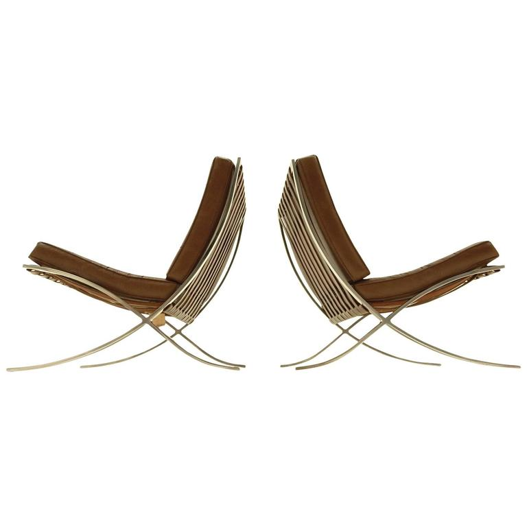 this mies van der rohe for knoll international barcelona lounge chairs. Black Bedroom Furniture Sets. Home Design Ideas