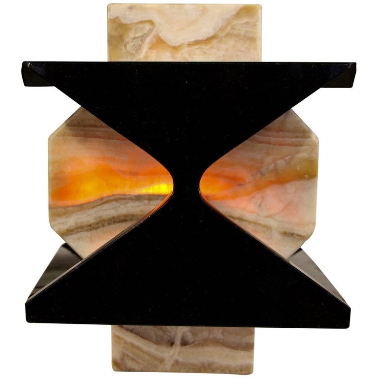 Beautiful Handmade One of a Kind Granite and Onyx Lamp by a Local Artisan For Sale