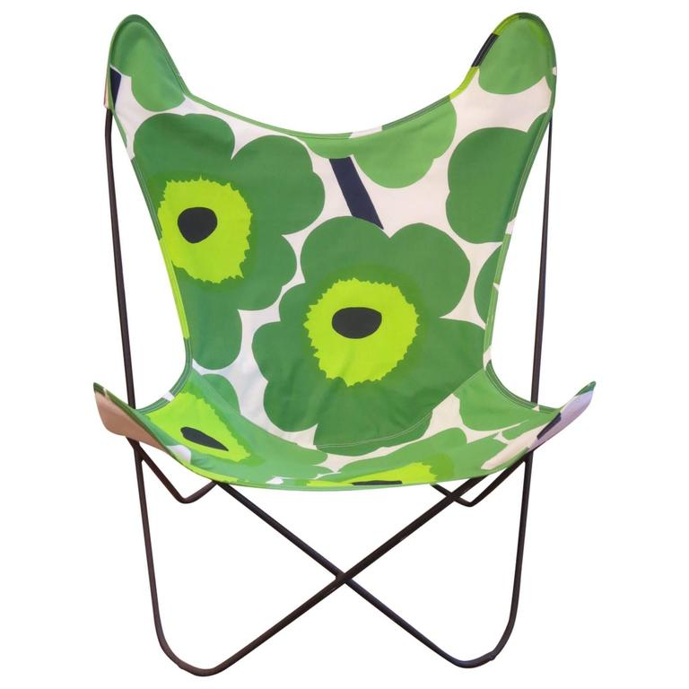 Knoll Butterfly Chair Newly Upholstered In Marimekko Fabric At 1stdibs