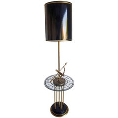 1960s Brass Armillary Astrological Floor Lamp with Gold Leaf