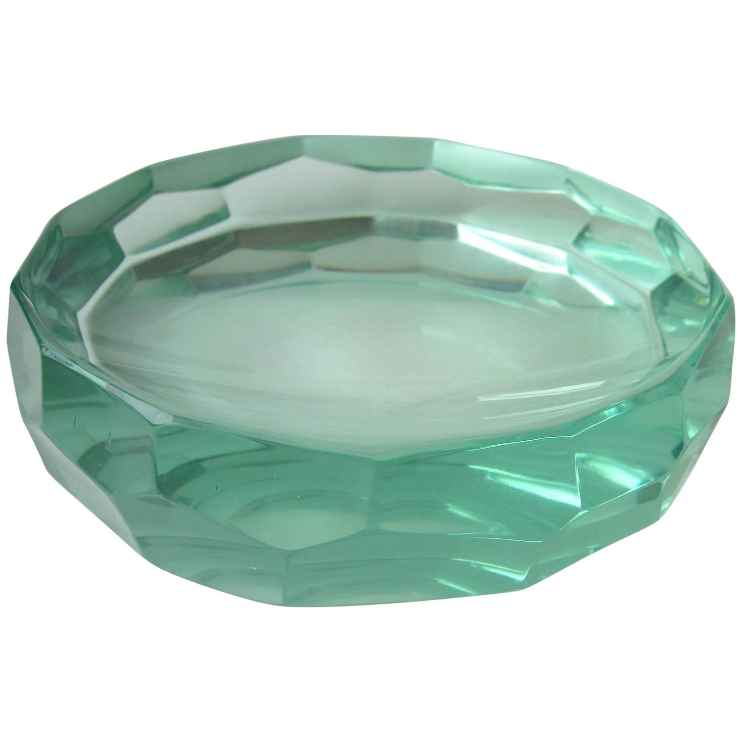 erwin walter burger faceted small glass bowl, fontana arte, signed