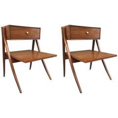 Pair of Kipp Stewart & Stewart MacDougall Sculptural Walnut Nightstands