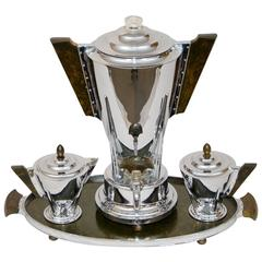 Art Deco Chrome and Bakelite Coffee Service by Manning Bowman