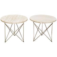 Vintage Mid-Century Pair Brancusi Brass Rod Marble Side Tables