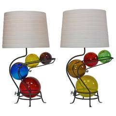 Pair of Iron and Glass Lamps in the Manner of Alexander Calder