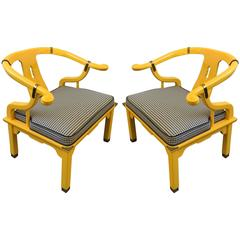 Pair of Lacquered Lounge Chairs in the Manner of James Mont