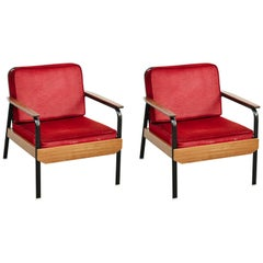 Pair of French Mid Century Modern Wood and Metal Easy Chairs after Jean Prouve