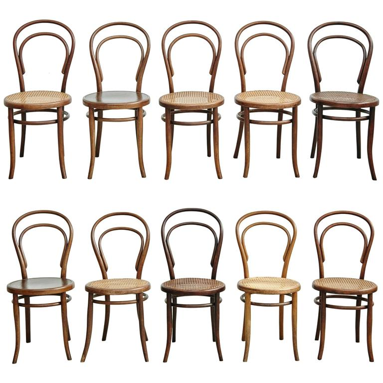 Set Of Ten Chairs By Thonet, Fischel, Kohn And Unknown, Circa 1900 1
