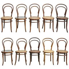 Set of Ten Chairs by Thonet, Fischel, Kohn and Unknown, circa 1900